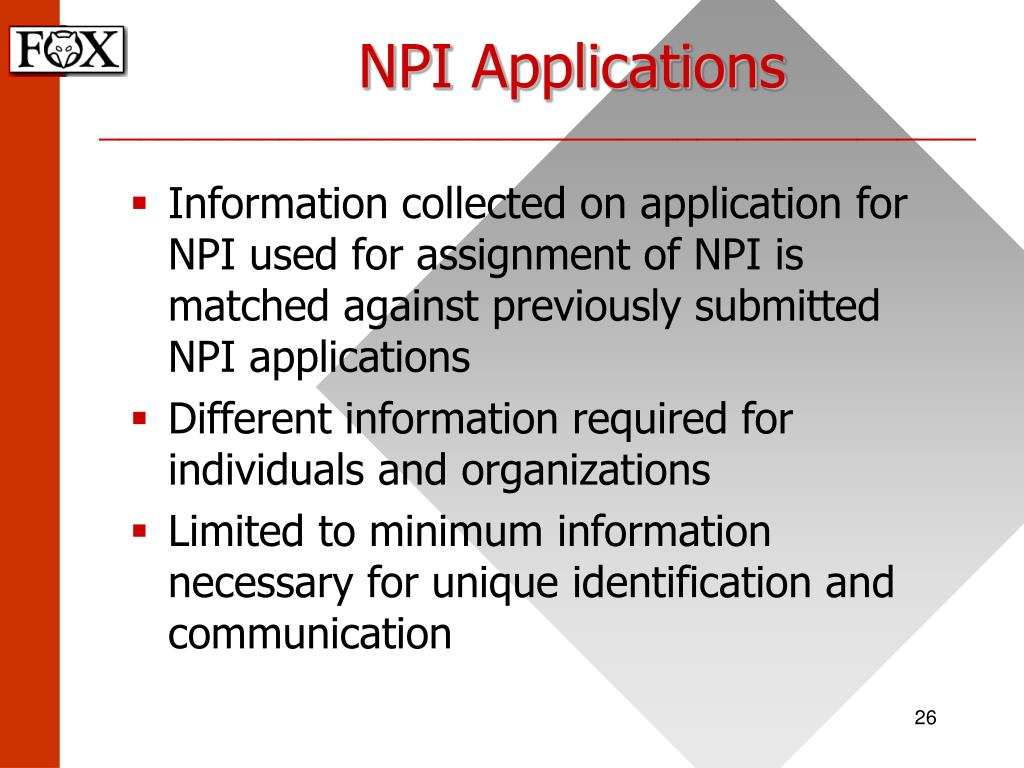 NPI Applications