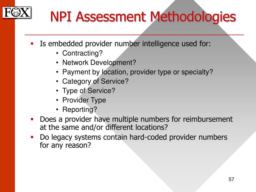NPI Assessment Methodologies