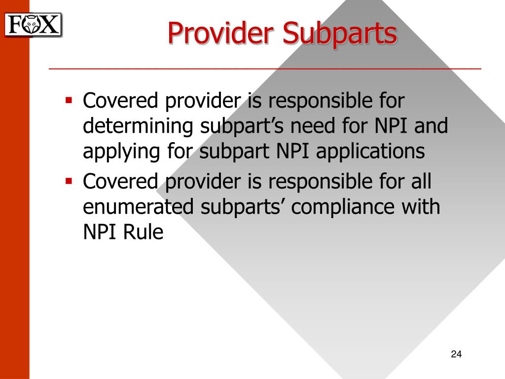 Provider Subparts