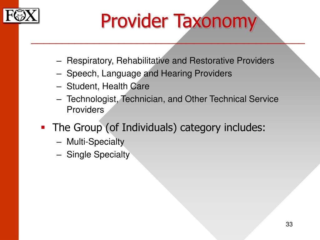 Provider Taxonomy