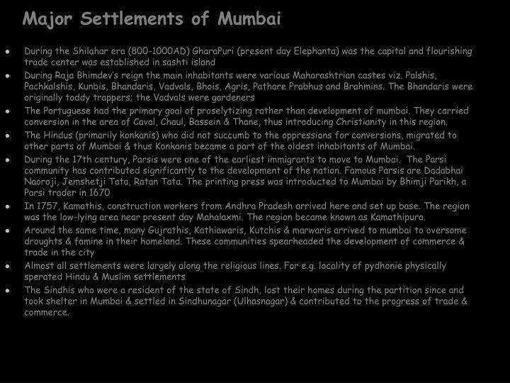 Major Settlements of Mumbai