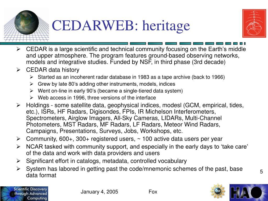 CEDARWEB: heritage