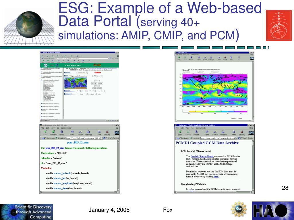 ESG: Example of a Web-based Data Portal (