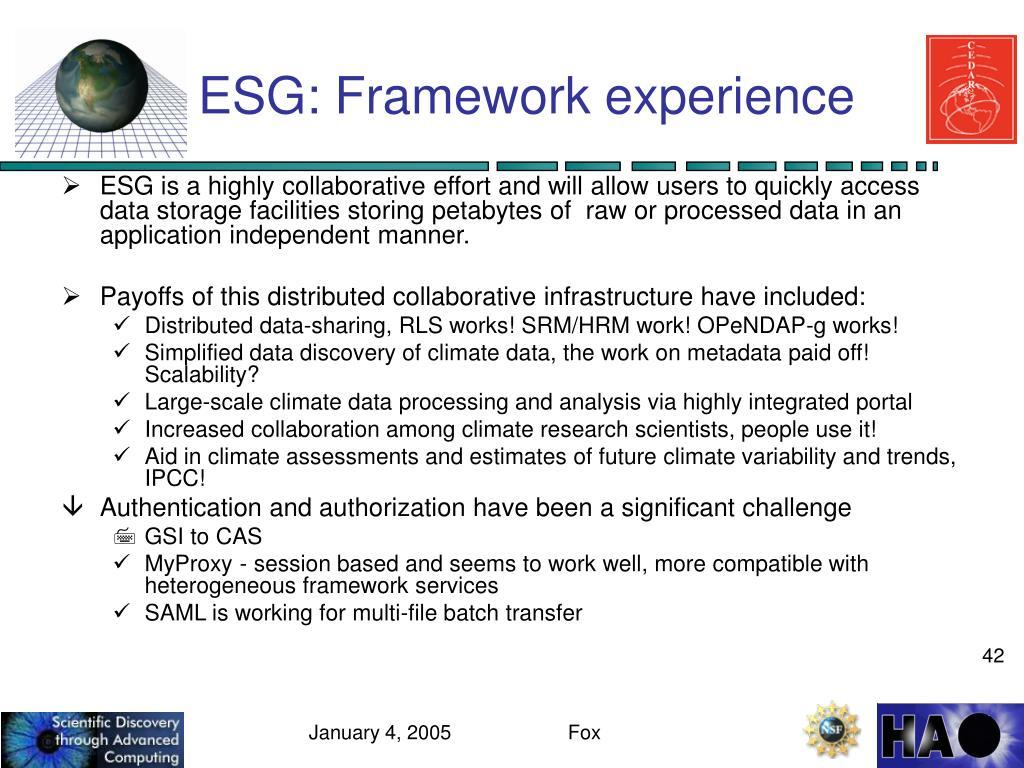 ESG: Framework experience