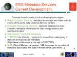 esg metadata services current development
