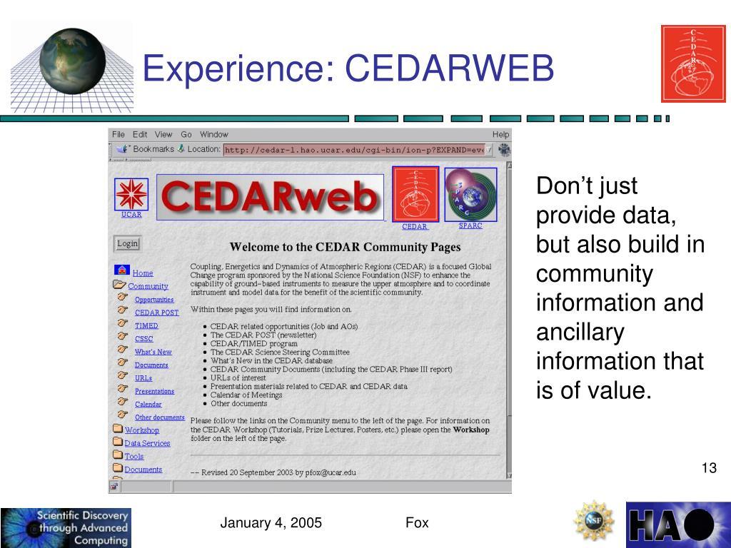 Experience: CEDARWEB