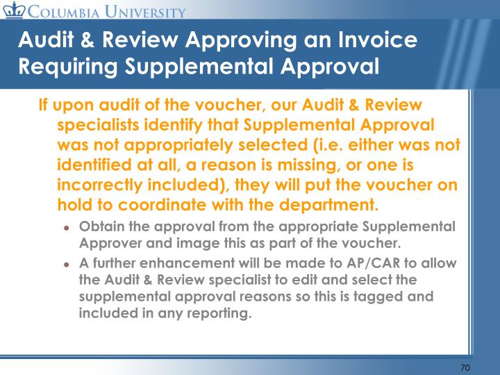Audit & Review Approving an Invoice Requiring Supplemental Approval