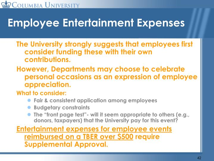 Employee Entertainment Expenses