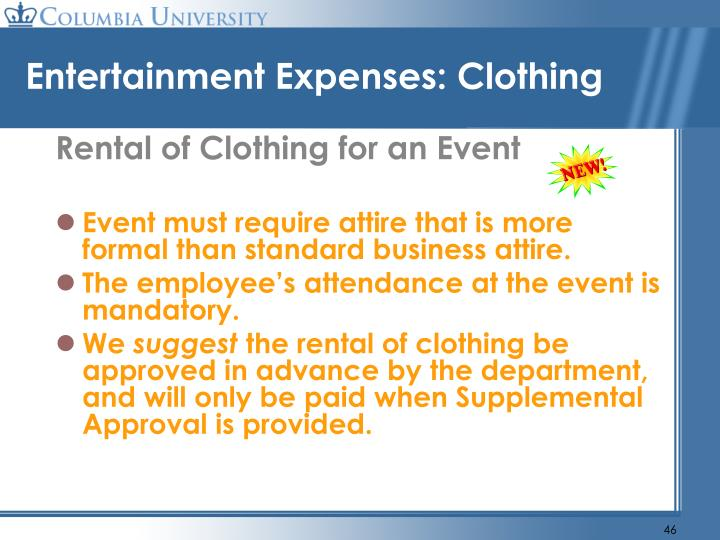 Entertainment Expenses: Clothing