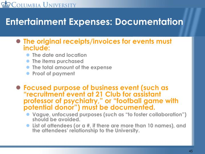 Entertainment Expenses: Documentation