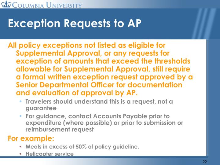 Exception Requests to AP