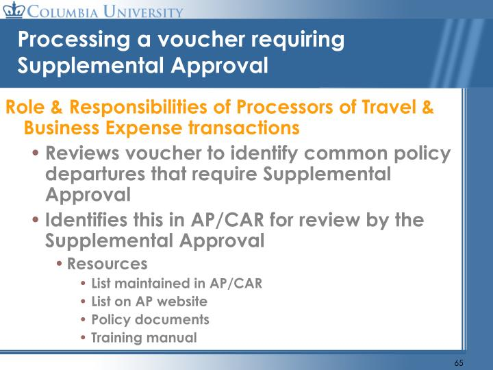 Processing a voucher requiring Supplemental Approval