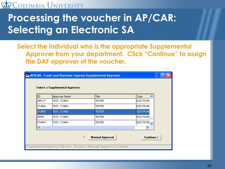 Processing the voucher in AP/CAR: Selecting an Electronic SA