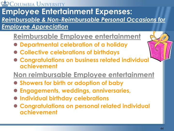 Employee Entertainment Expenses:
