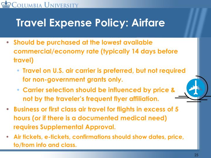 Travel Expense Policy: Airfare