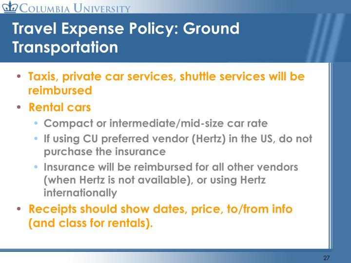 Travel Expense Policy: Ground Transportation
