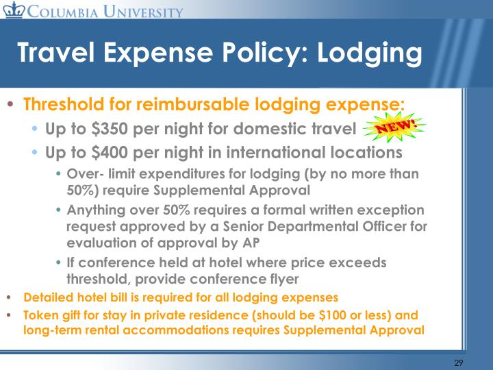 Travel Expense Policy: Lodging