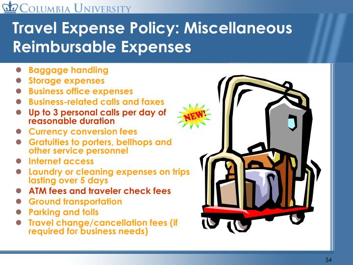 Travel Expense Policy: Miscellaneous Reimbursable Expenses