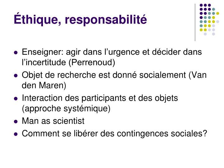 Éthique, responsabilité