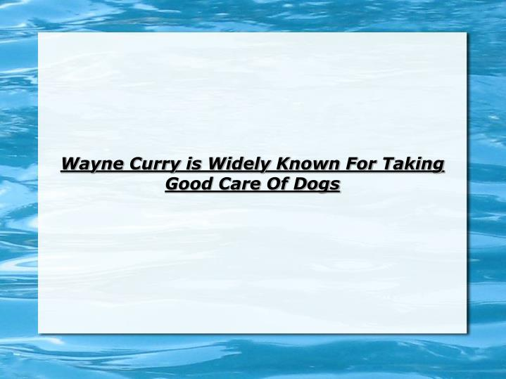 Wayne curry is widely known for taking good care of dogs l.jpg