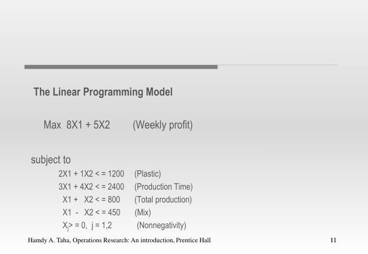 The Linear Programming Model