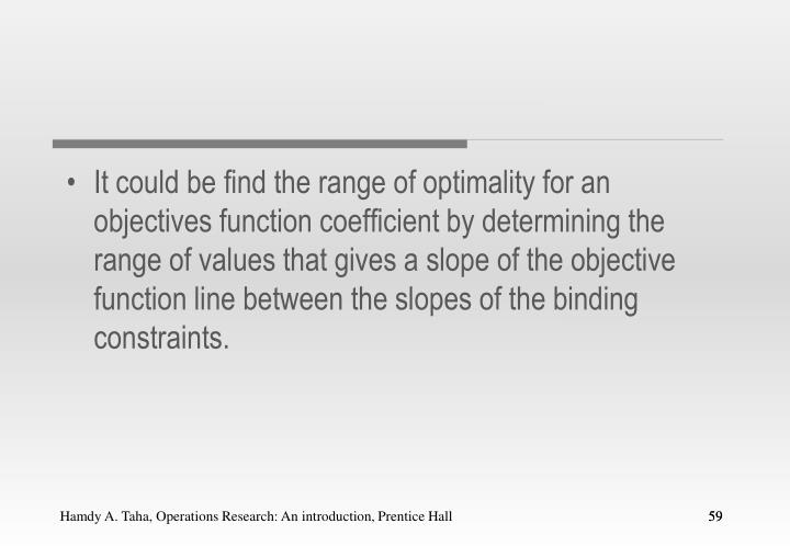 It could be find the range of optimality for an objectives function coefficient by determining the range of values that gives a slope of the objective function line between the slopes of the binding constraints.