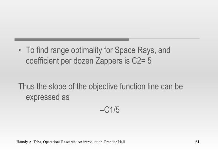 To find range optimality for Space Rays, and coefficient per dozen Zappers is C2= 5
