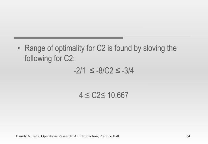 Range of optimality for C2 is found by sloving the following for C2: