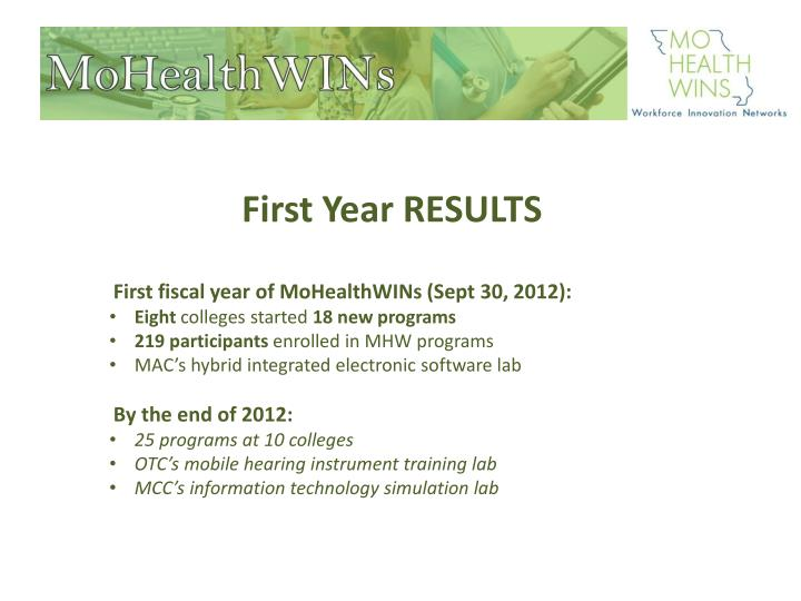 First Year RESULTS