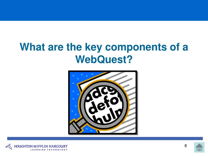 What are the key components of a WebQuest?
