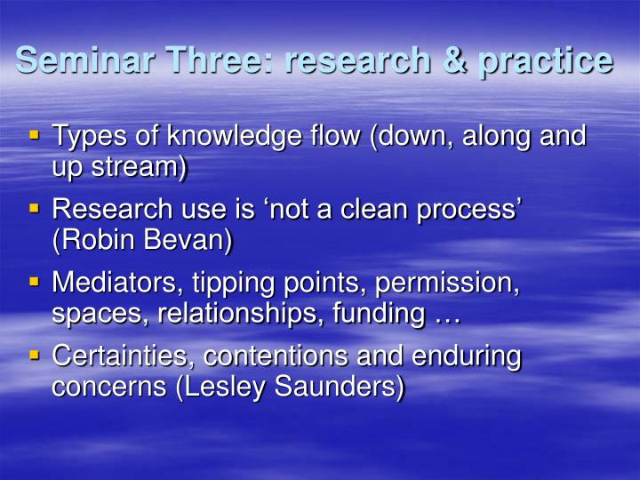 Seminar Three: research & practice