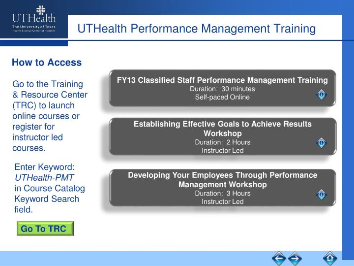 UTHealth Performance Management Training