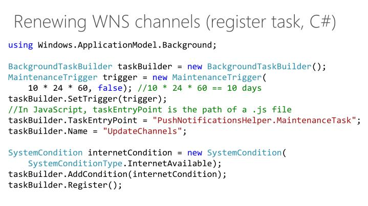 Renewing WNS channels (register