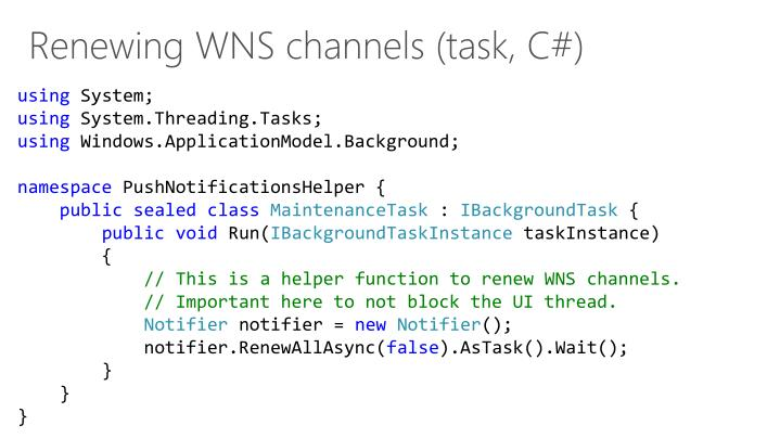 Renewing WNS channels (task, C#)