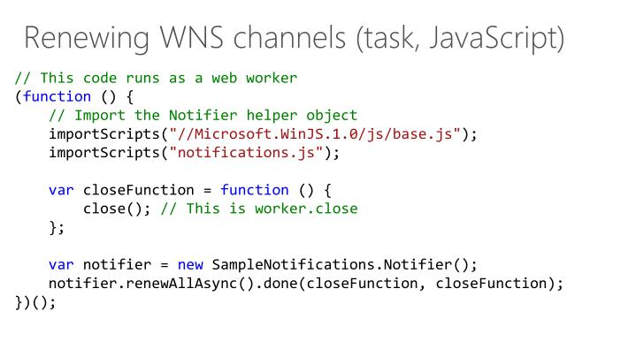 Renewing WNS channels (task, JavaScript)