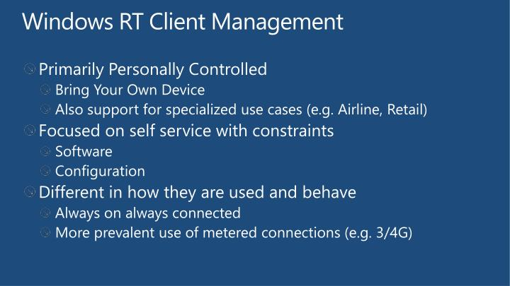 Windows RT Client Management