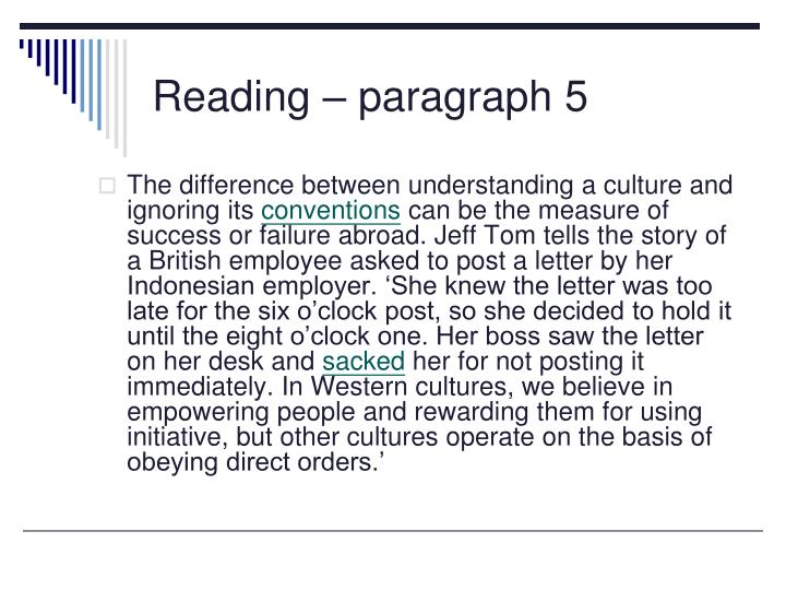 Reading – paragraph 5