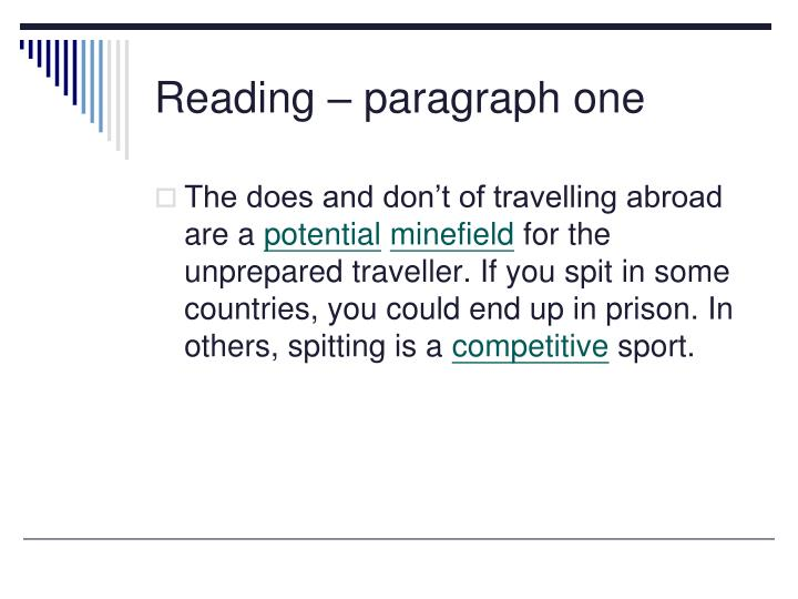Reading – paragraph one
