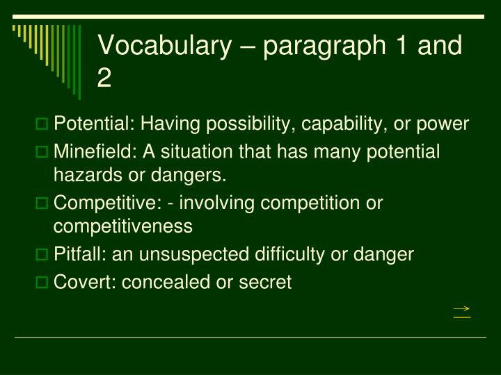 Vocabulary – paragraph 1 and 2