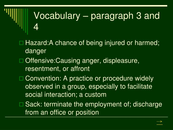 Vocabulary – paragraph 3 and 4