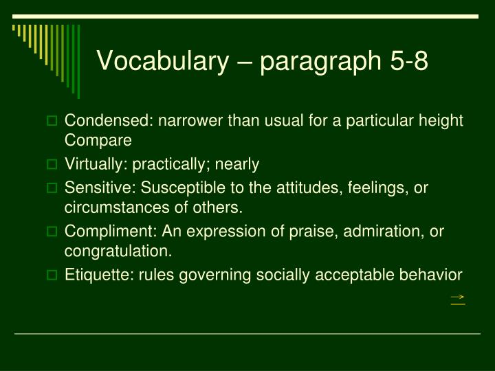 Vocabulary – paragraph 5-8