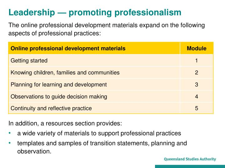 unit cu2942 promote professional development