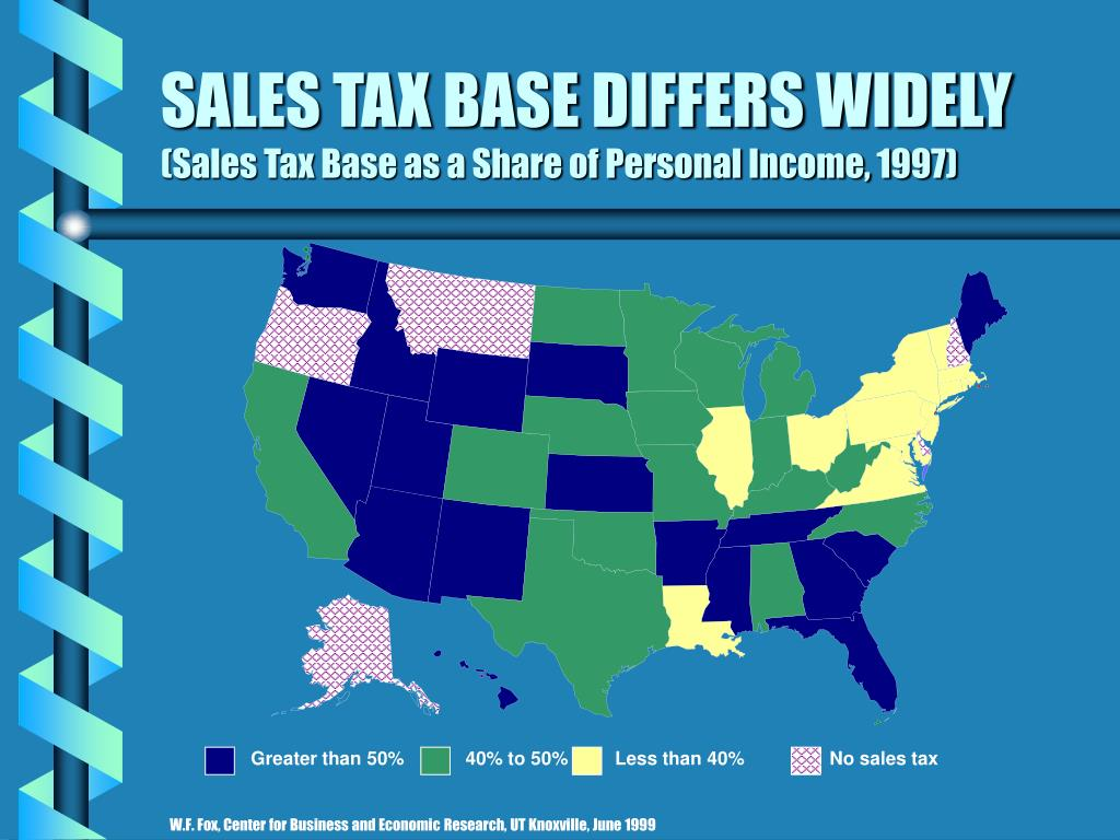 SALES TAX BASE DIFFERS WIDELY