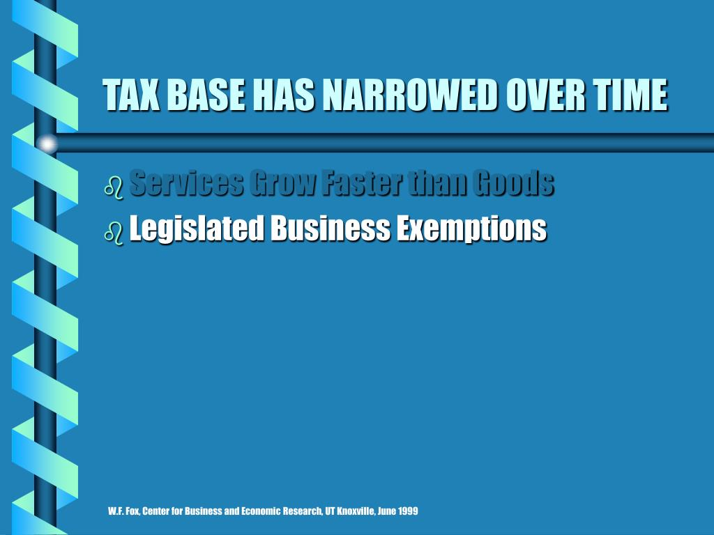 TAX BASE HAS NARROWED OVER TIME