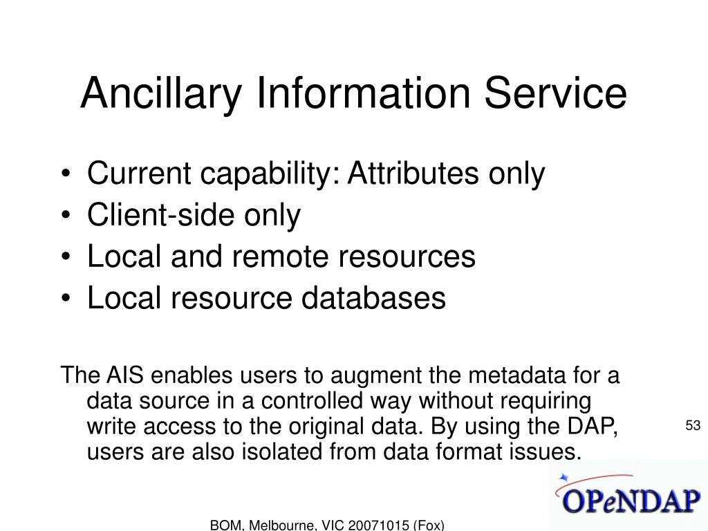 Ancillary Information Service