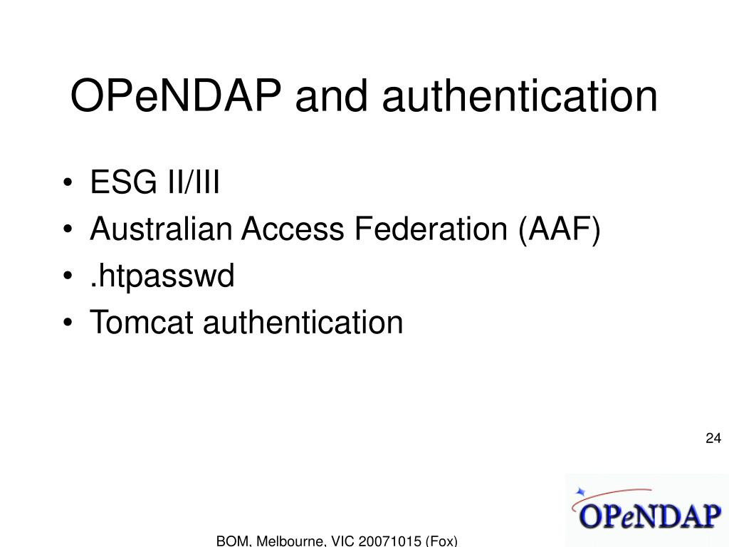 OPeNDAP and authentication