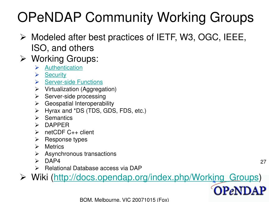OPeNDAP Community Working Groups