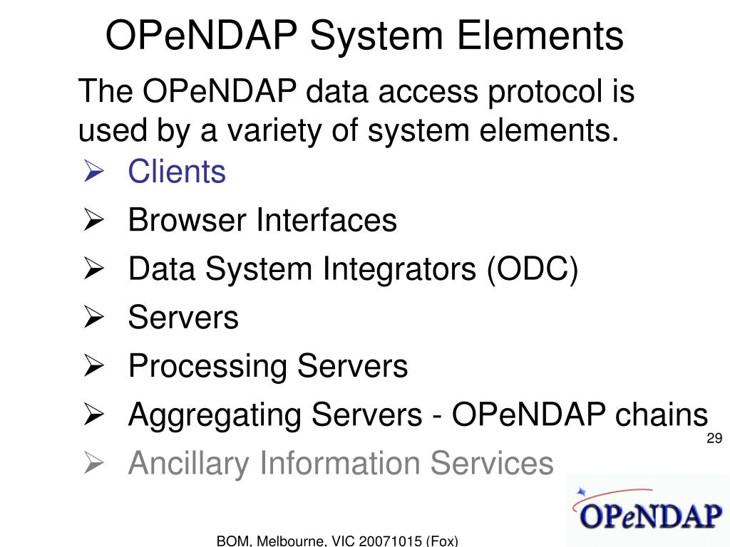 OPeNDAP System Elements