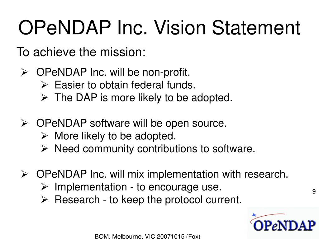 OPeNDAP Inc. Vision Statement