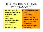 fox wb upn affiliate programming